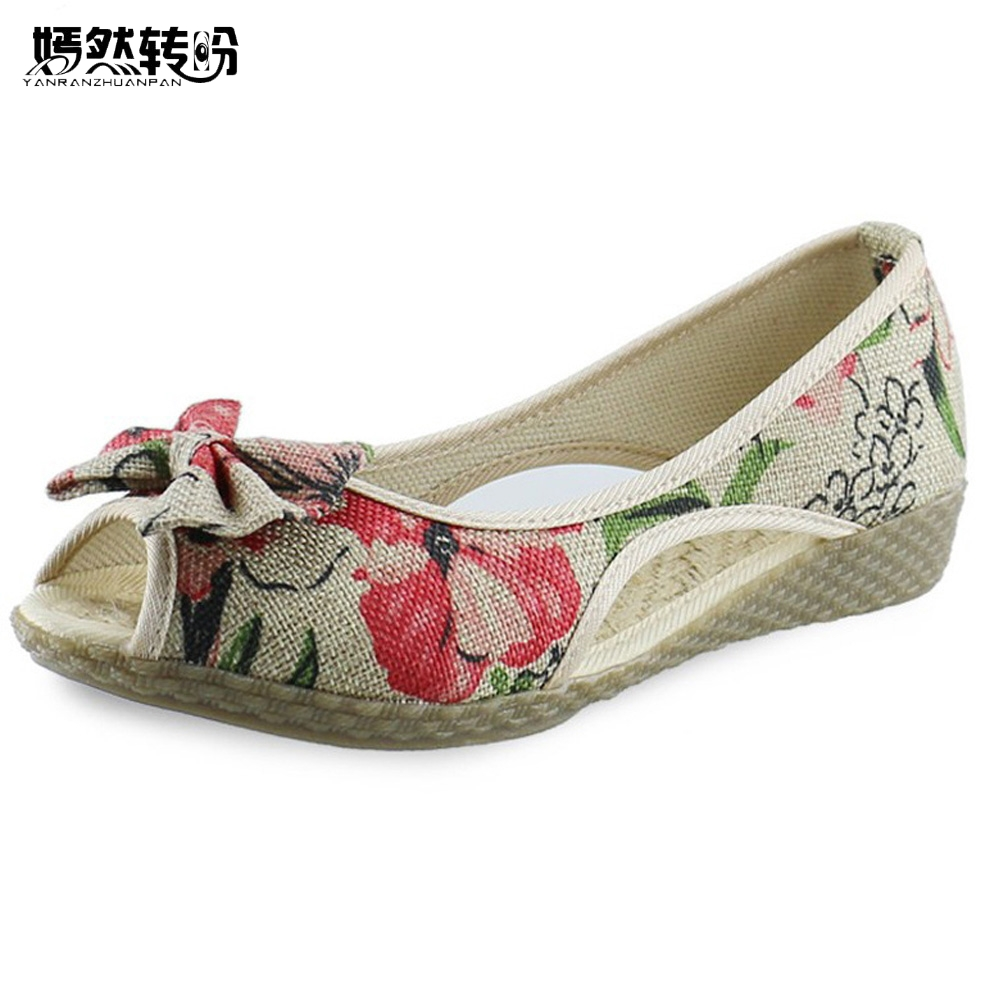 Vintage Women Flats Summer New Soft Canvas Embroidery Shoes Casual Slip On Bow Dance Flat Sandals For Woman Zapatos Mujer lucyever women vintage square toe flat summer sandals flock buckle casual shoes comfort ankle strap women footwear mujer zapatos