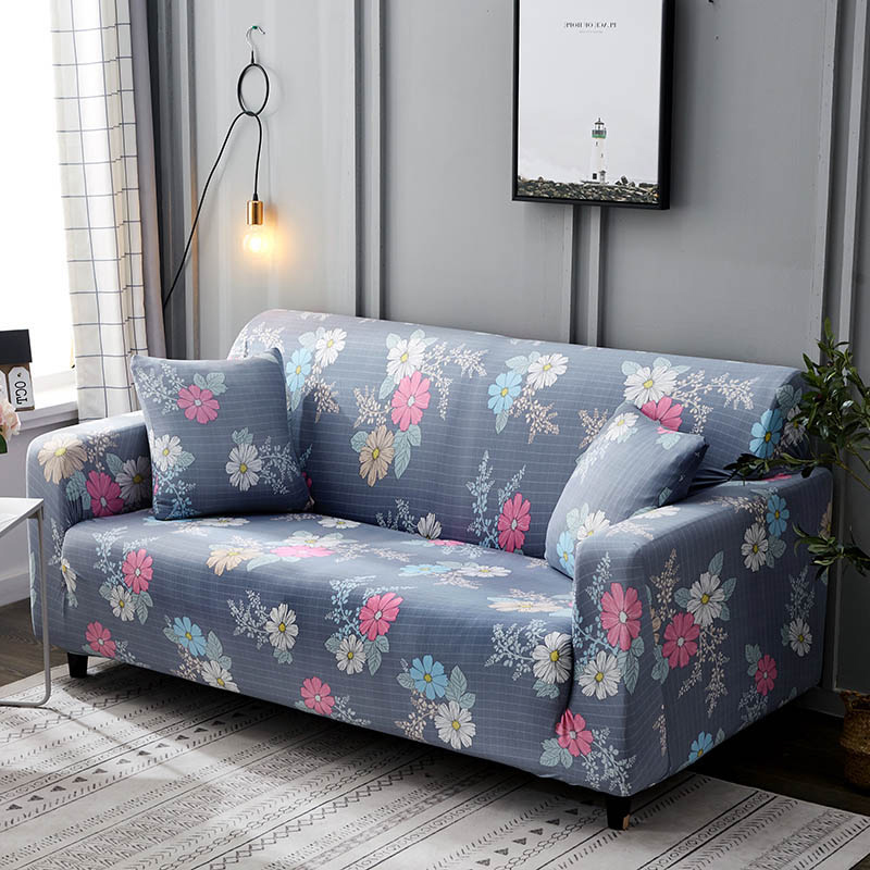 1pc Leaf and Flower Printed Sofa Cover Made of Polyester and Spandex Fabric for L Shaped and Corner Sofa 7