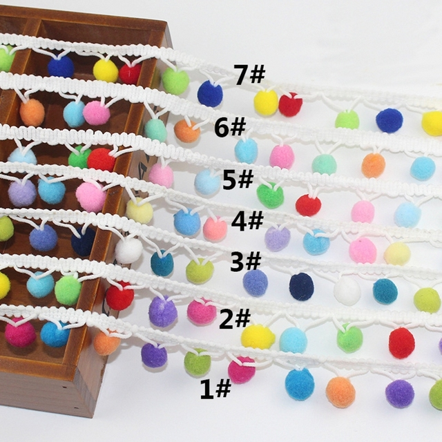 Кружева 2,5 м Радуга Pom Кружева кисточкой помпонами шарики бахрома ленты одежда ткань шнур DIY Craft Швейные принадлежности 5 ярдов