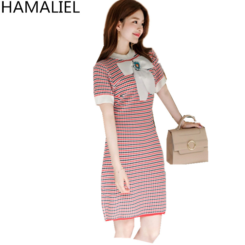 HAMALIEL Summer Knited Sweater Dress 2018 Fashion Women Diamonds Bow Short Sleeve Patchwork Sheath Knitting Bodycon Pencil Dress