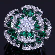 Outstanding Huge Flower Green Cubic Zirconia White CZ 925 Sterling Silver Ring For Women V0535