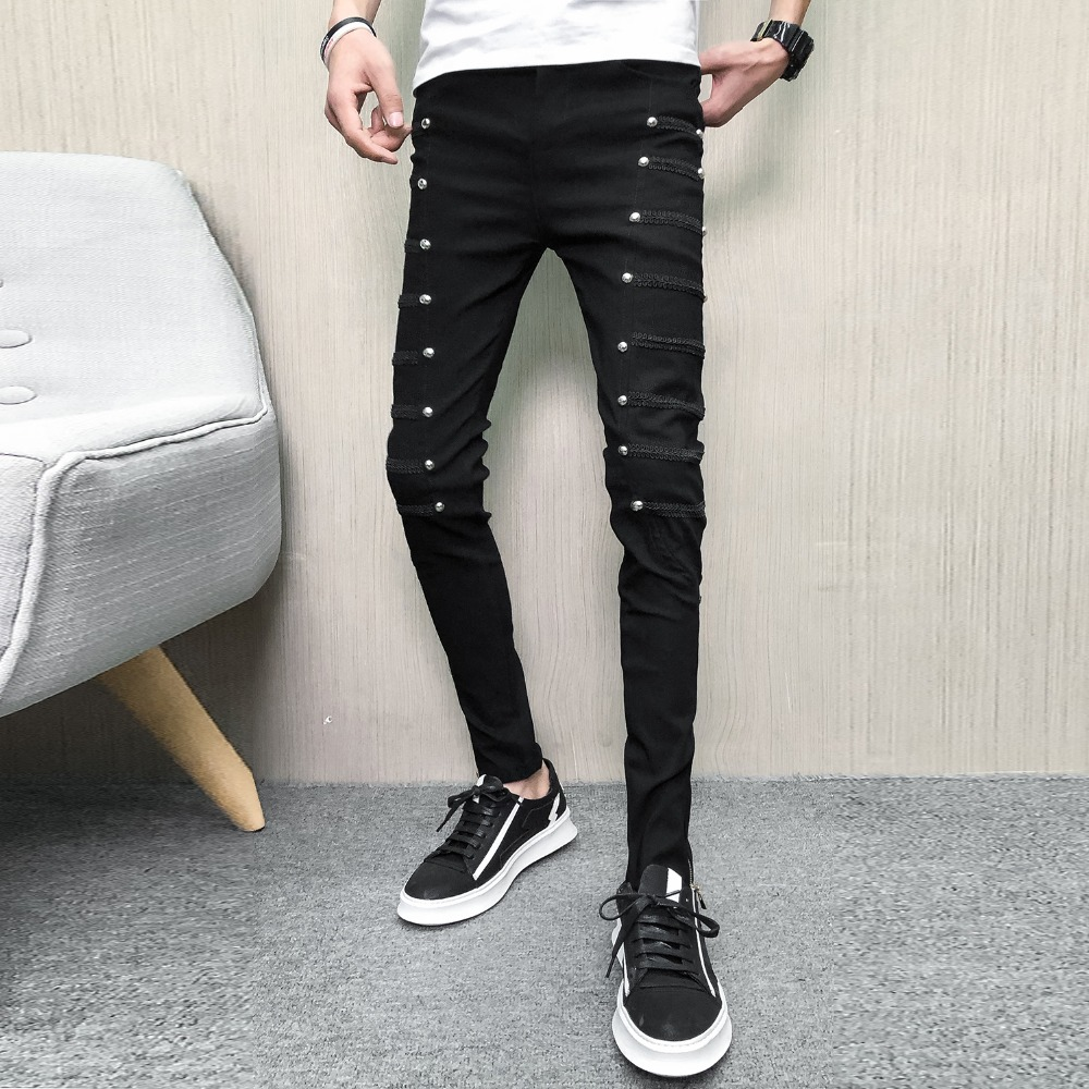 New Stylish Mens Trousers Rivet Slim Casual Skinny Synthetic Leather Party Pants