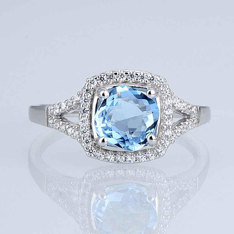 SANTUZZA เงินแหวนแหวนหมั้นแหวนแต่งงาน Cushion Sky Blue Cubic Zirconia บริสุทธิ์แท้ 925
