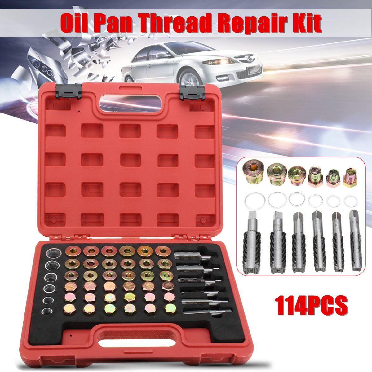 114PCS Car Oil Pan Thread Repair Kit Gearbox Drain Plug Washer Seal Tool Set