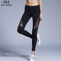 Black Mesh Splicing Sexy Women Sports Leggings Compression Fitness Pants 2016 New Brand Patchwork Calzas Deportivas