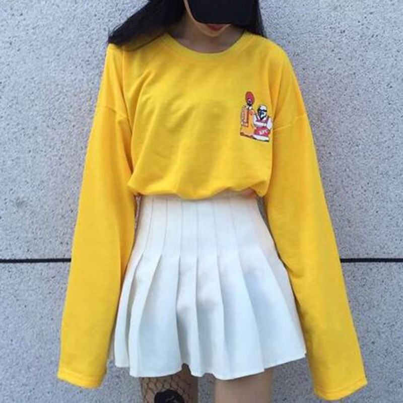 2019 Spring Newest Fanny Girls T-shirts Harajuku T Shirt Women Long Sleeve Cartoon Print Yellow Tops
