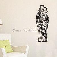 La Mère De Jésus Christ Stickers Muraux Art Conception Vinyle Amovible Tenant un Enfant Stickers Muraux de Haute Qualité