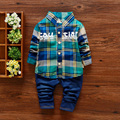 1-5yrs Kids Clothes Sets Spring Autumn warm Baby Boys Kid Long Sleeve Gentleman Suits Children shirt+jeans 2Ps Boys Clothes