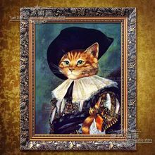 Beautiful Wall Decoration 100% Handmade High Quality Abstract European General Army Cat With Hat Oil Painting  Canvas For Decor