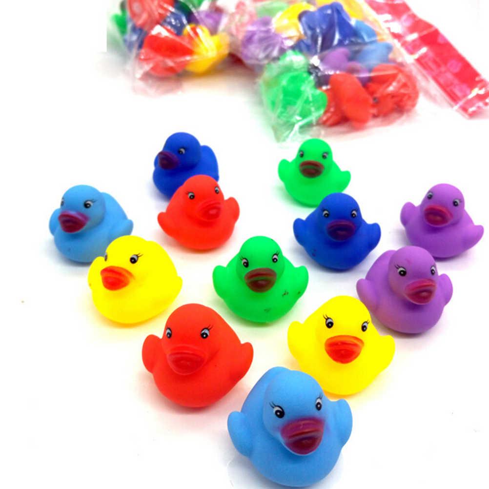 2/12 Pcs Mini Kleurrijke Rubber Float Piepende Geluid Eend Bad Speelgoed Baby Badkamer Water Zwembad Grappig Speelgoed Voor meisjes Jongens Geschenken