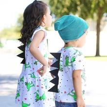 New Style Toddler Baby Girls Dress Cartoon Dinosaur Striped Print 3D Dorsal Fin