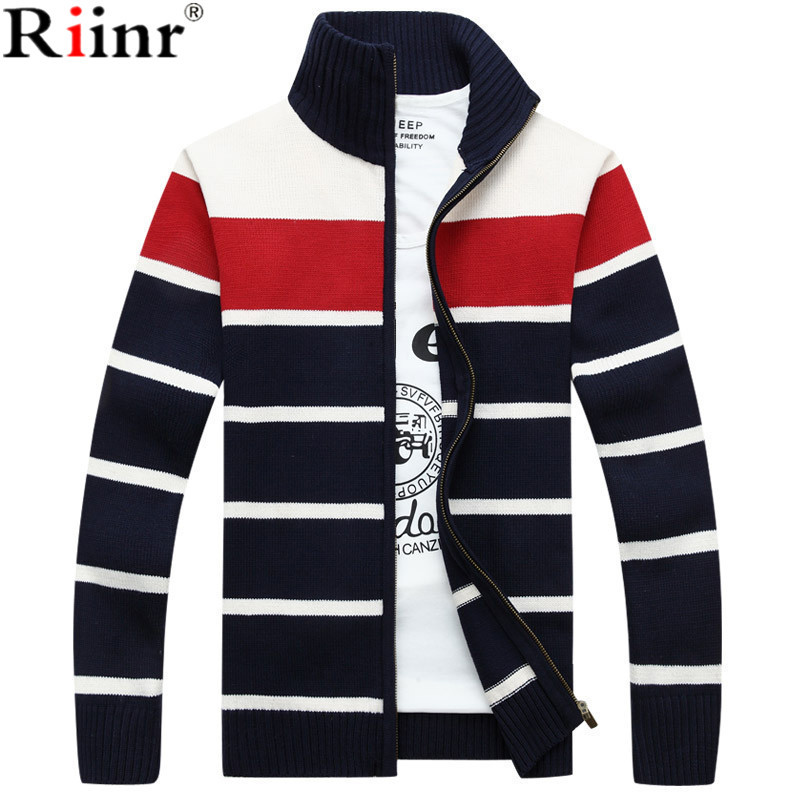 Riinr 2017 New Cardigan Men Size M-3XL Stand Collar With Pockets Warm Thick Velet Imported-Clothing High Quality Sweater Men