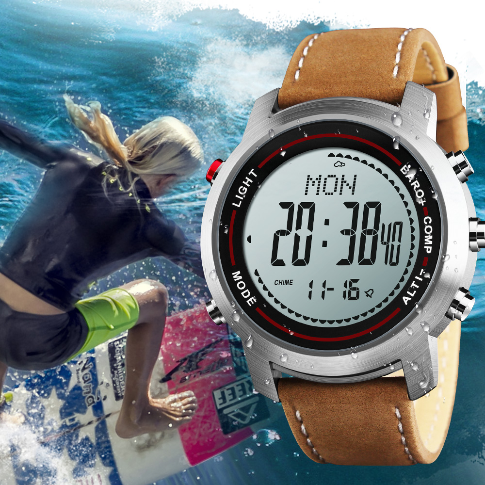 ชายทหารกีฬานาฬิกาสภาพอากาศเข็มทิศสายหนังแท้กันน้ำนาฬิกาดิจิตอลนาฬิกาข้อมือ Relogio Masculino-ใน นาฬิกาข้อมือดิจิตอล จาก นาฬิกาข้อมือ บน   1