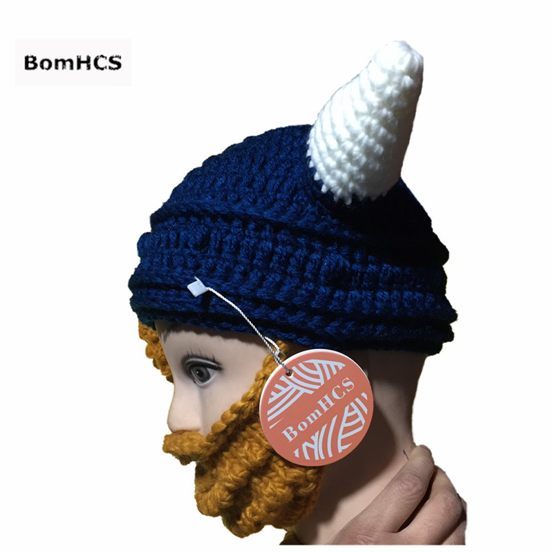 Bomhcs Novetly Ox Horn Beanie With Beard Mask 100 Handmade Crochet