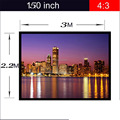 ThundeaL 4:3 150inch Projector Screen with Grommets Finished Edge White Curtain Simple Screen Portable Projection Screen