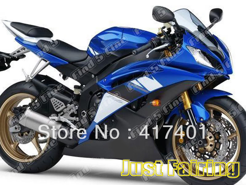 blue white for YAMAHA YZFR6 08-11 YZF R6 2008-2011 08 09 10 11 YZF-R6 2008 2009 2010 2011 ABS full motorcycle fairing kit