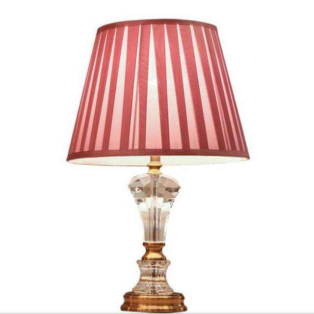 Modern Simple Pink Crystal Fabric Led E27 Table Lamp For Children S