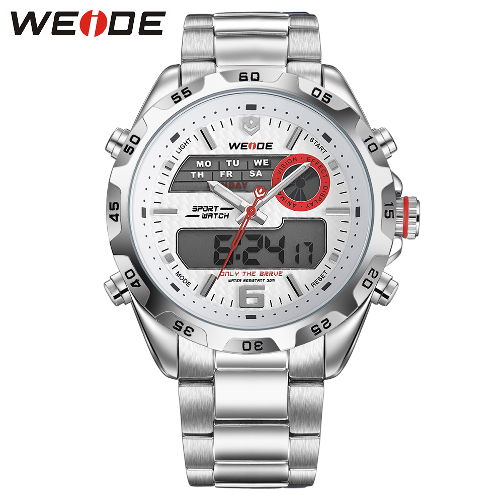 цены  Hot Sell WEIDE Luxury Brand Fashion Men Sport Watch Analog Digital Display 30m Waterproof Stainless Steel Strap With White Dial