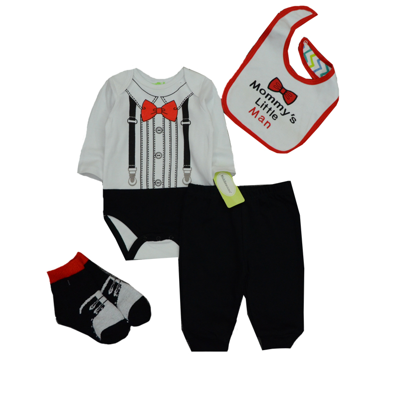 1169609a0ef1 4pcs baby boy clothing sets 2018 New Spring Autumn Newborn Baby Boy Girl  Romper+pants