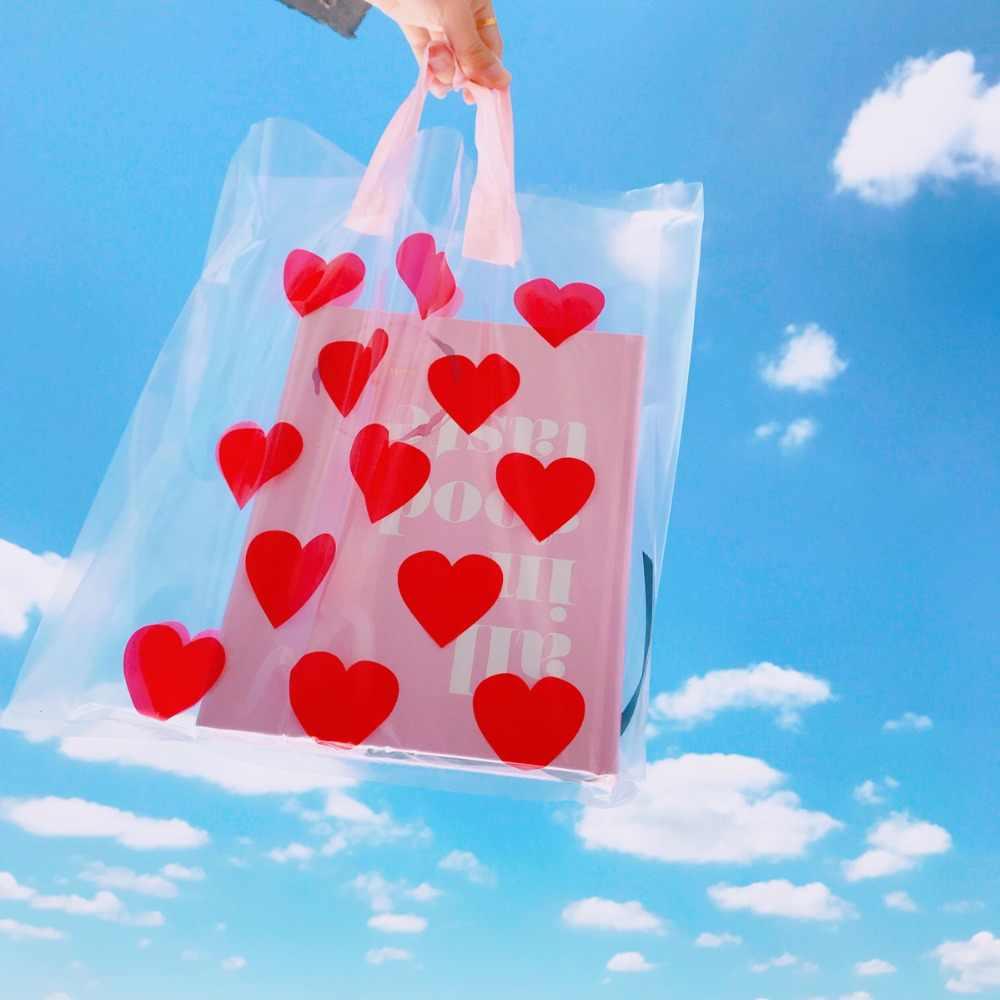 Mode rouge coeur femmes fourre-tout sacs à provisions pvc grande dame plage sacs à main mignon impression clair cadeau sac ouvert sac à main