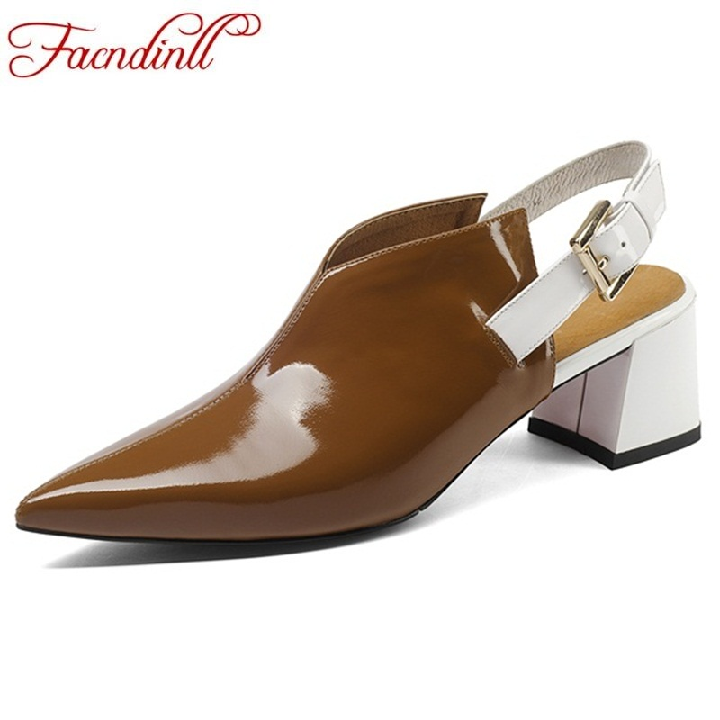 FACNDINLL fashion patent leatherr women sandals sexy high heels pointed toe footwear new woman dress party office lady shoes facndinll new genuine leather women gladiator sandals fashion sexy high heels peep toe shoes woman dress party office lady shoes