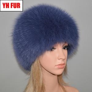 Image 1 - 女性の冬の自然本物のキツネの毛皮の帽子弾性暖かいソフトふわふわ本物のキツネの毛皮キャップ豪華な品質本物のキツネの毛皮爆撃機帽子