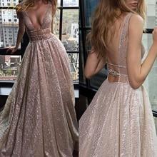 BeryLove блестящие элегантные вечерние платья цвета шампанского, длинные сексуальные блестящие платья с глубоким v-образным вырезом для выпускного вечера, платье с шлейфом