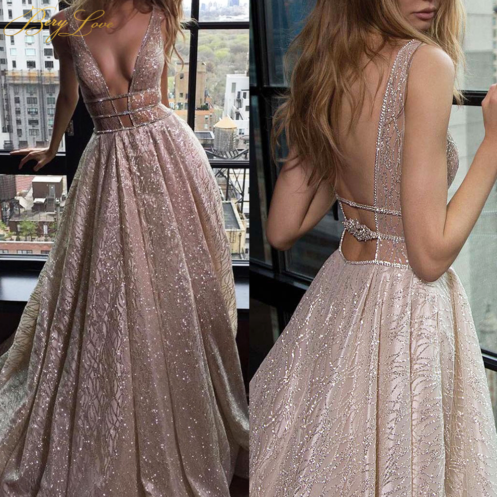 BeryLove Sparkle Elegant Formal Evening Dress 2020 Silver Champagne Gown Long Sexy Deep V Shiny Prom Dresses Train Robe De Soire