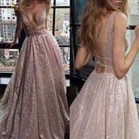 BeryLove Sparkle Elegante Formale Abendkleider 2019 Champagner Kleider Lange Sexy Tiefe V Shiny Brautkleider Zug Robe De Soire