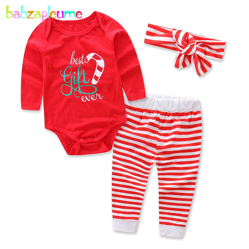 3PCS/3-24Months/Christmas Baby Outfit Newborn Girls Clothes 100% Cotton Cute Bodysuit+Pants+Headband Infant Clothing Sets BC1403