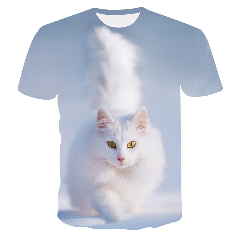 2019 Summer new brand T-<font><b>shirt</b></font> White Cat Printed T-<font><b>shirt</b></font> Fitness T-<font><b>shirt</b></font> Men's 3D <font><b>Anime</b></font> T-<font><b>shirt</b></font> <font><b>Sexy</b></font> Men's <font><b>Shirt</b></font> image