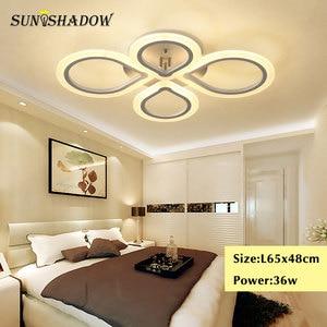 Image 5 - טבעות מודרני Led תקרת אור סלון חדר שינה מנורות שחור לבן אקריליק משטח רכוב נברשת תקרת מנורות