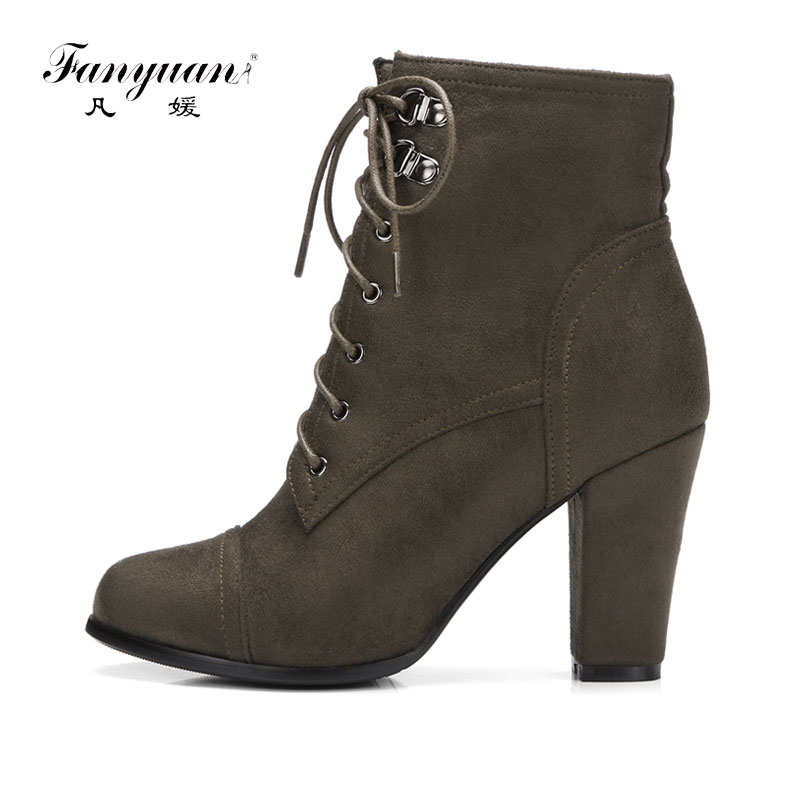 Fanyuan Ankle Boots Women Block High Heel Winter Shoes Woman Lace Up Punk Motorcycle Boots Short Plush Insole botas mujer Zip
