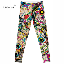 CANDICE ELSA leggings women workout female pants elastic fitness legging skull printed trousers plus size drop shipping