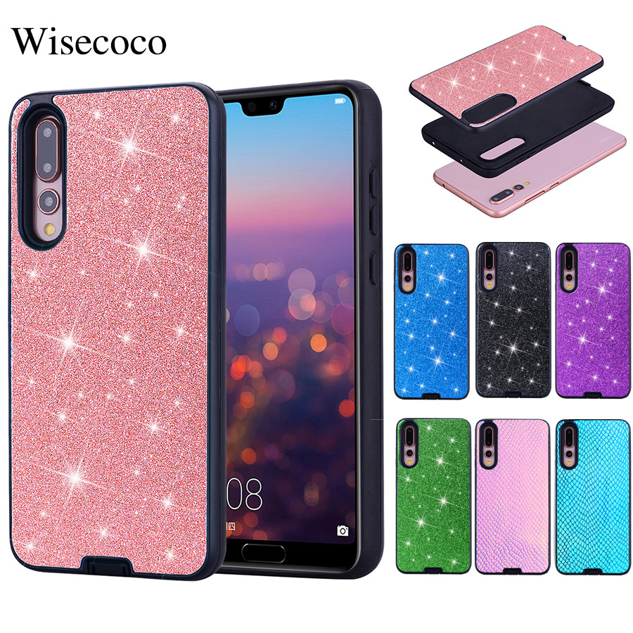 Luxury Bling Glitter Shining Case for Huawei P20 Pro Lite P Smart Y3 Y5 Y6 Y7 Y9 2018 Snake Leather Silicone Hard PC Back Cover