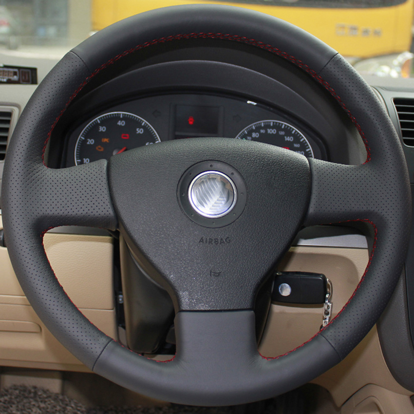 DIY Car Steering Wheel Cover for VW Sagitar MAGOTAN Bora Jetta Polo Lavida Avant Sew Leather Steering Wheel Cover Free Shipping