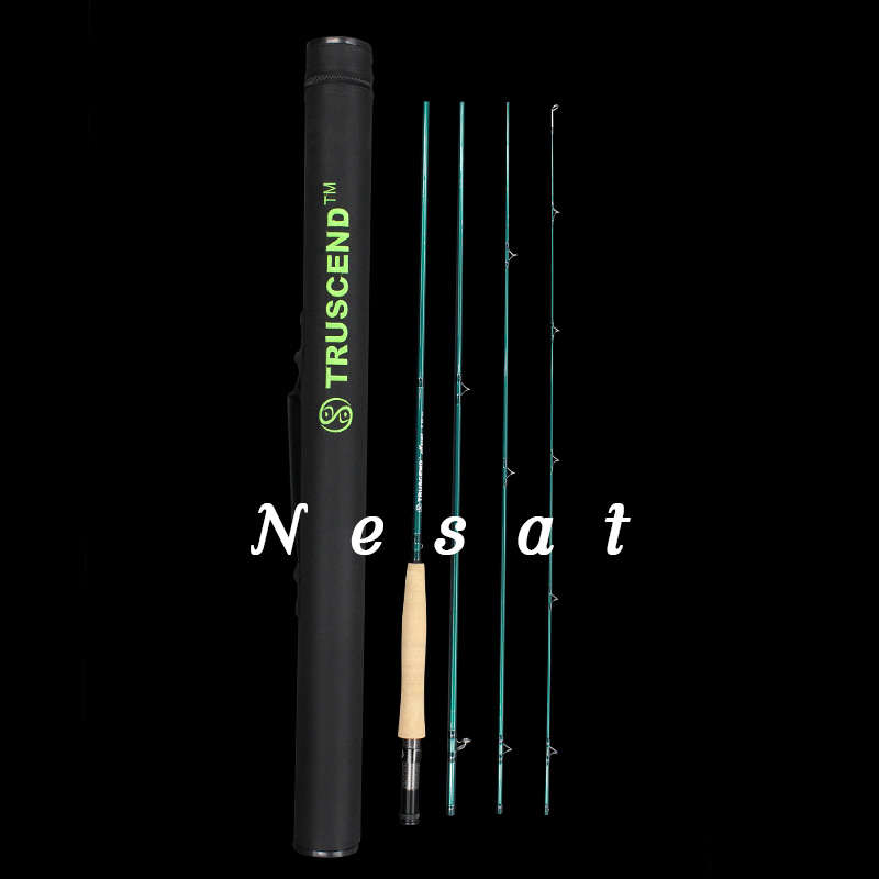Nesat green 4 sections Fly Rod Carbon Fiber Fast Action Fly Fishing Rod With Cordura Tube Fly Fishing Rod #8 #5 high quality 2 43m fly fishing 4 sections portable 66cm ultralight carbon fishing rod medium fast action fly rod tenkara fr166