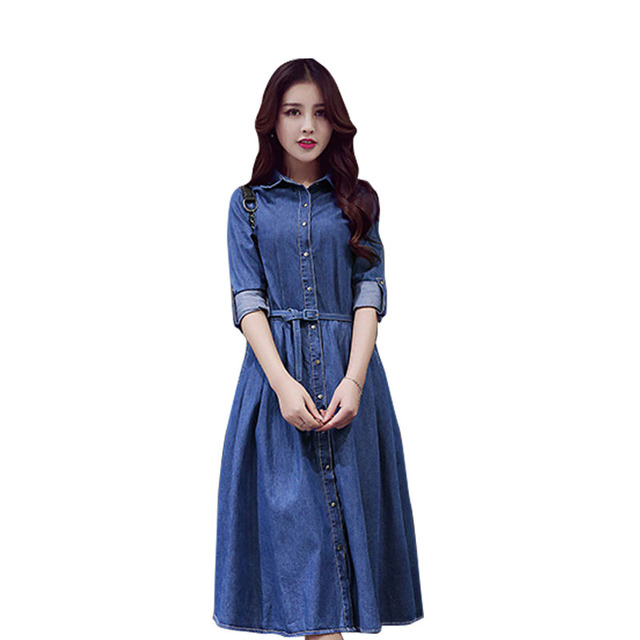 2a0c6e0c0f Aliexpress Monikubu Moda damska Odzież Dżinsowa Sukienka Maxi Długie Suknie  Vestido Renda dochód Dla Kobiet Kobieta