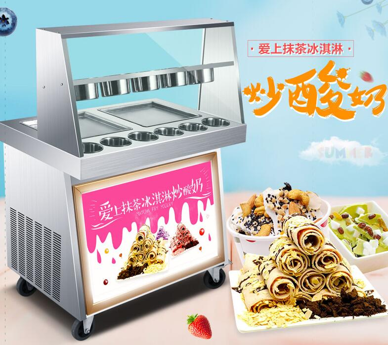 Electric Roll Ice Cream Machine Commercial Ice Fried Machine with Double Frying Pans + Barrels