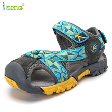 Barn pojkesandaler 2017 Sommar nya stilskor pojkar Äkta Läder cut-outs barn kanfas regn sandaler andas läderskor