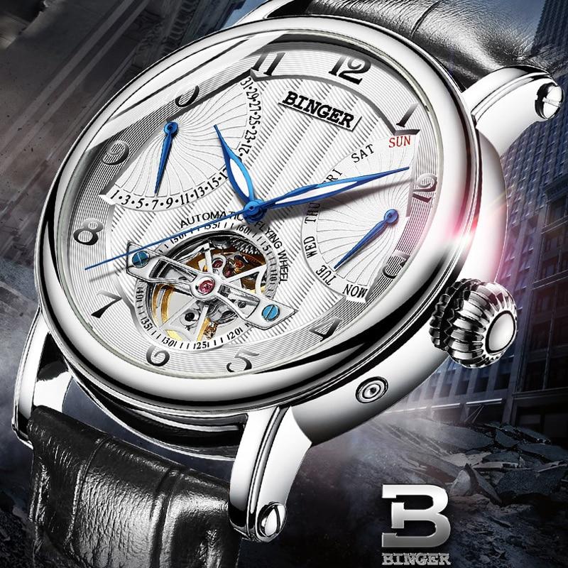 สวิตเซอร์แลนด์ BINGER นาฬิกาผู้ชายผู้ชายหรูหรา Tourbillon อัตโนมัตินาฬิกาผู้ชาย Self   Wind Mechanical นาฬิกาข้อมือ reloj-ใน นาฬิกาข้อมือกลไก จาก นาฬิกาข้อมือ บน   1