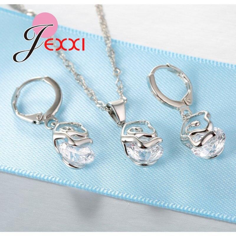 Jemmin Mode 925 Sterling Silber Schmuck-Set Für Frauen Kristall Anhänger Halsketten Ohrringe Hochzeit Schmuck Set