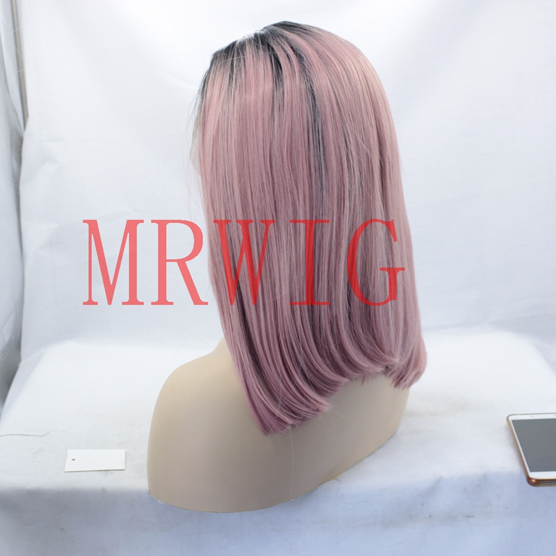 MRWIG short bob straight 1b# ombre new pink synthetic front wig middle part 12inch 150%density for fashion woman real hair stock