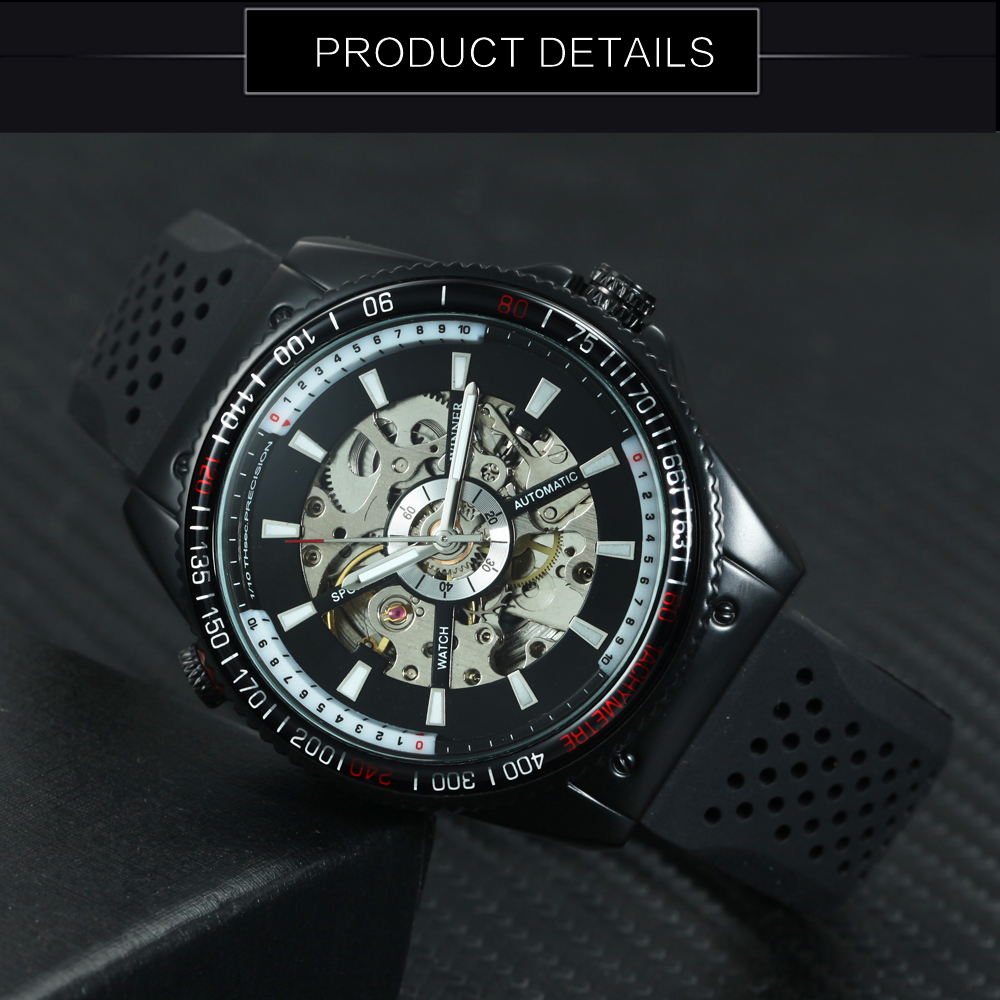 WINNER Fashion Sports Watch Men Automatic Mechanical Skeleton Dial Rubeer Strap Black Mens Watches Top Brand Luxury Clock 2019 in Mechanical Watches from Watches