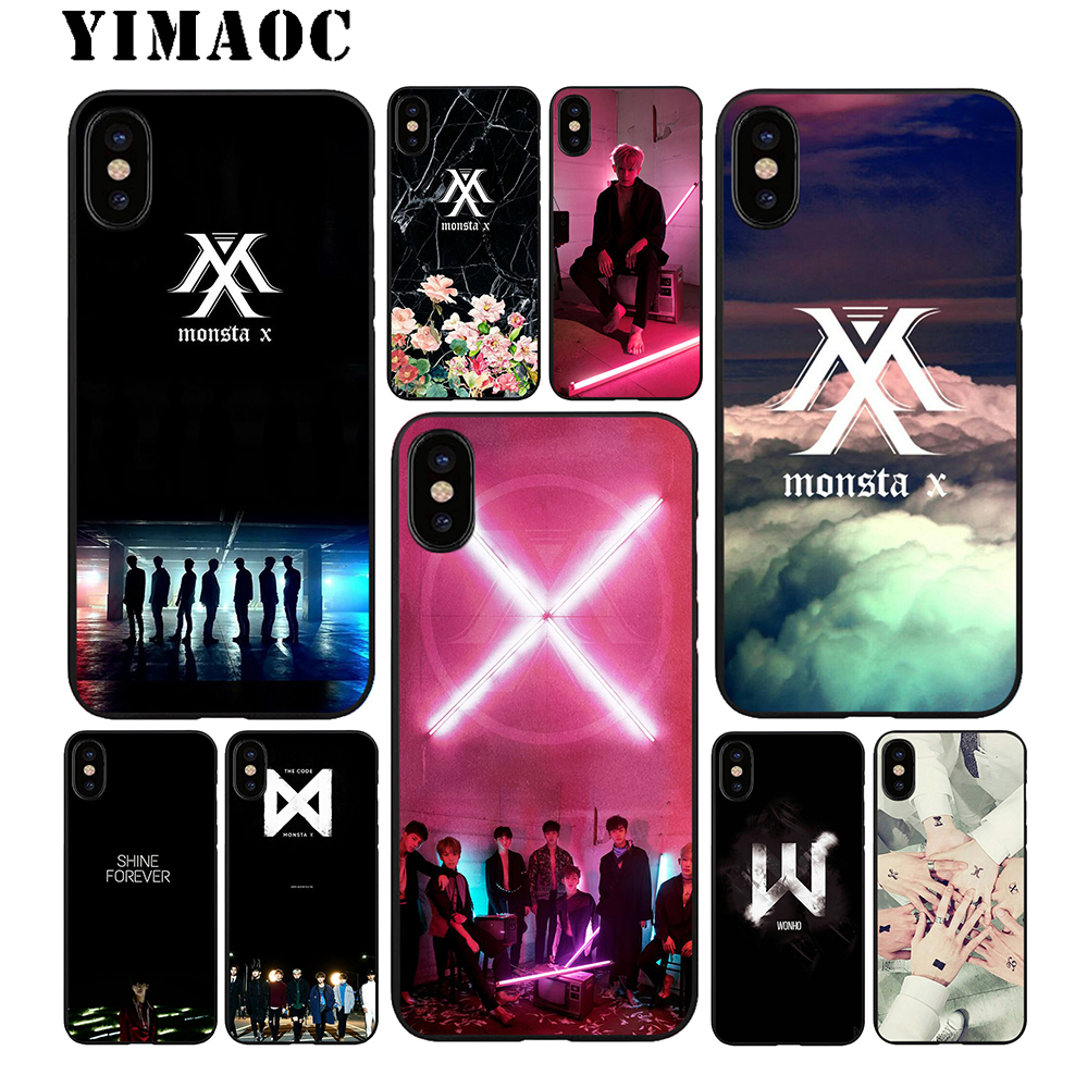 YIMAOC Monsta X Band Soft TPU Black Silicone Case for iPhone X or 10 8 7 6 6S Plus 5 5S SE Xr Xs Max