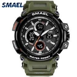 Smael esporte relógio para homem nova dupla exibição de tempo masculino relógio à prova dwaterproof água choque resistente relógio de pulso digital 1708 militar