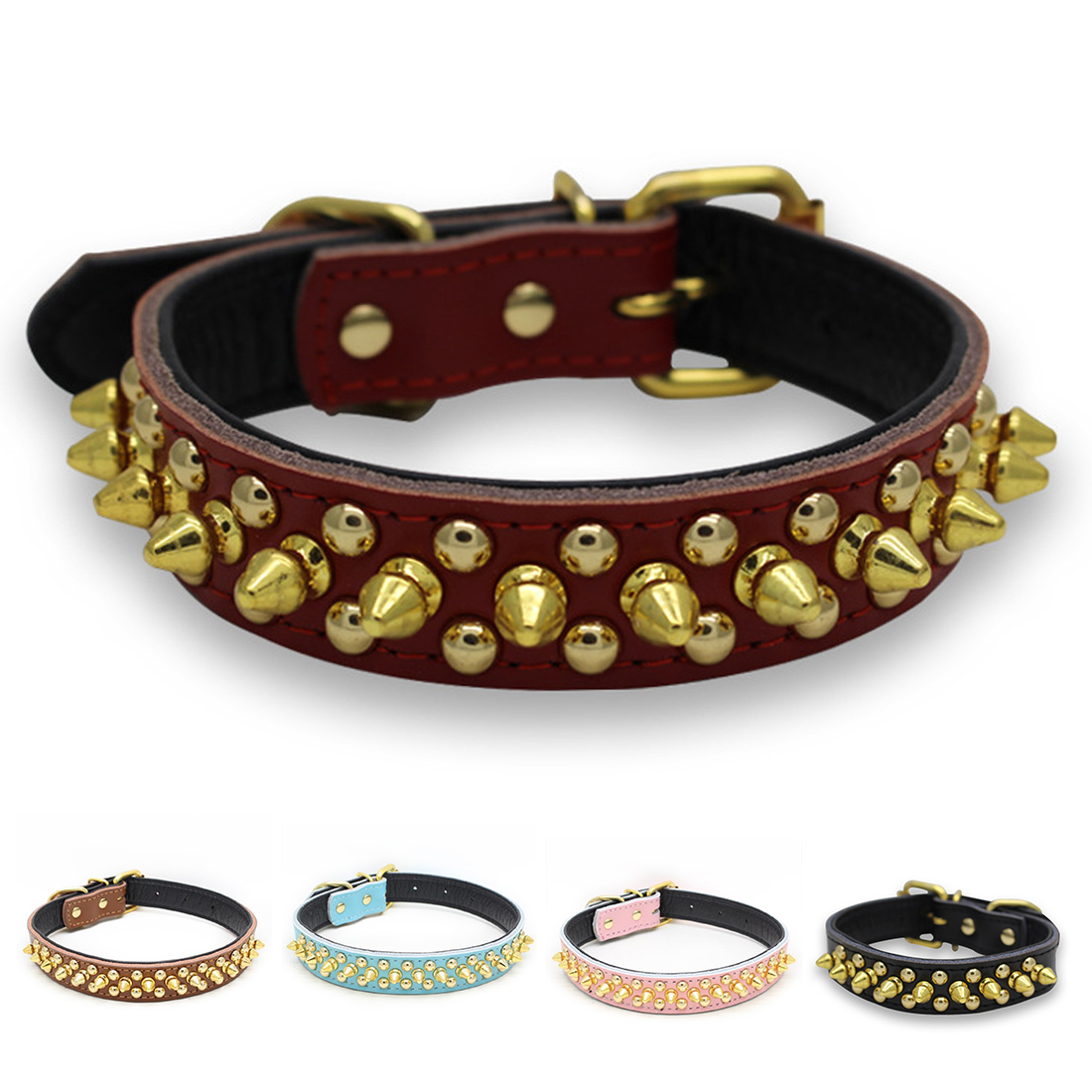 Best Sale Chain Dog Supplies Adjustable Harness Spiked Studded Genuine Leather Pet Dog Collar Rivet Dog Collar Round Nail Dog