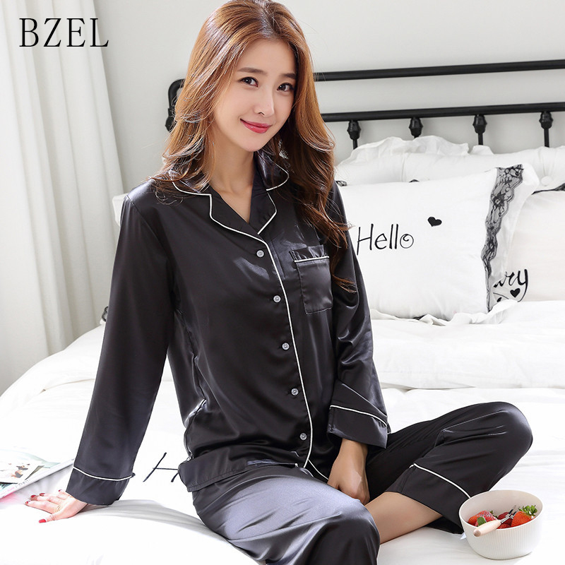 BZEL Pyjamas Women Silk Satin Full Trousers Lady Two Piece   Pajama     Set   Long Sleeve Female Home Clothing Women's   Pajama     Sets   M-2XL