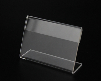 50pcs 10*8cm 4*3.2inch Clear Acrylic Sign Holder Price Tag frame Display Stand Table Card Stand Holder label frame