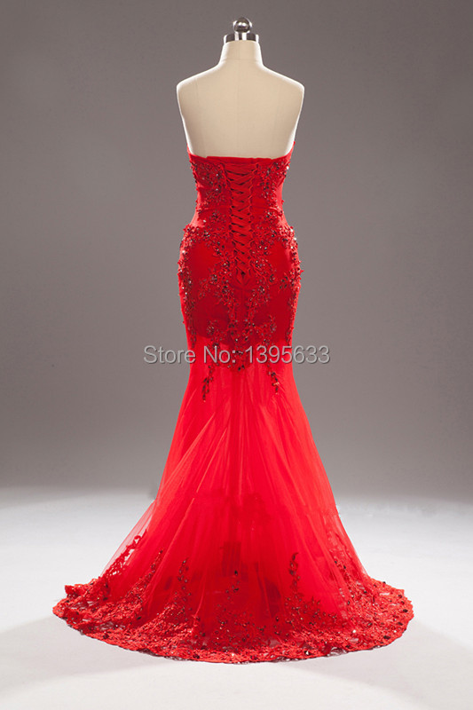 vestido de novia Tulle Skirt Mermaid Pattern Beading Red Lace ...